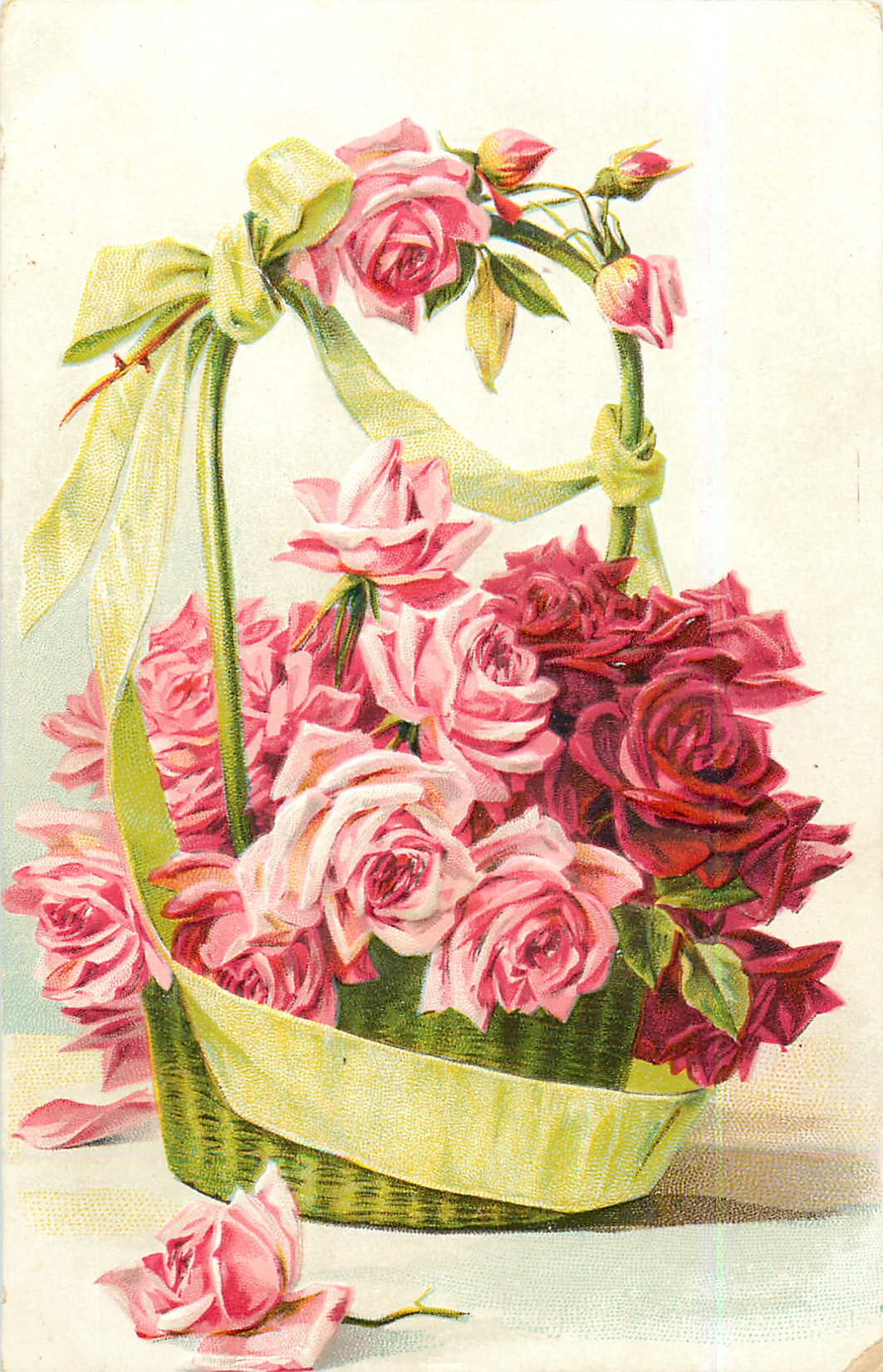 Roses In Green Basket With Green Ribbon Many Pink And