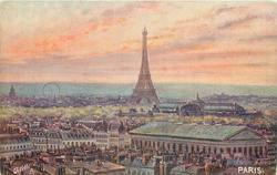 view across Paris, Eiffel tower centre