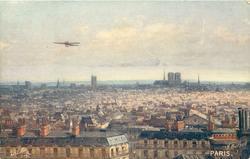 view across Paris, aircraft centre left