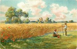 pastoral/ harvest scene, man sharpens scythe, woman sits on ground, standing grain to left, church behind