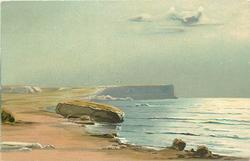 ocean scene, large flat rock left at edge of sandy beach, distant cliffs, ocean right, no people