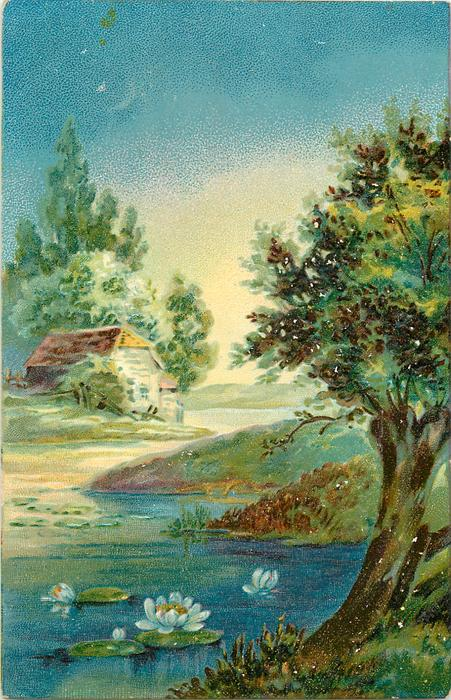 rural scene, tree right front, stream with flowering water lilies, building back at left