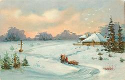 snow scene, person & child bring wood toward house, child drags sled, signpost left, house right