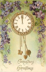 CHRISTMAS GREETINGS  pendulum clock, surrounded by violets