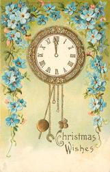 CHRISTMAS WISHES  pendulum clock, surrounded by blue forget-me-nots