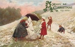 left: two girls near snowman holding umbrella, two boys make snowballs right