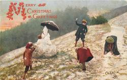 left: two boys prepare to throw snowballs, two girls bent over gathering snow, snowman holding umbrella back left