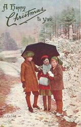 three children under umbrella, one holds snowballs