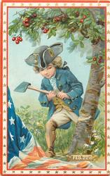 FEB. 22 D.  young Washington chops the cherry tree