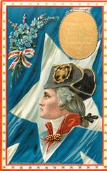 HIS CANDOUR HIS PATIENCE, HIS LOVE OF JUSTICE, WERE UNEXAMPLED  Washington's head in white star on blue flag