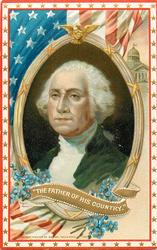 THE FATHER OF HIS COUNTRY.  portrait in oval frame