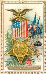 FLAG OF FREEDOM, GRAND AND GLORIOUS, 'NEATH THE FLAG WE MARCH VICTORIOUS, G.A.R  medal, cannon balls, flag