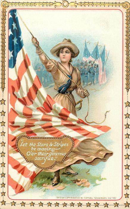LET THE STARS & STRIPES BE WAVING O'ER THEIR GENEROUS SACRIFICE.  daughter raises flag
