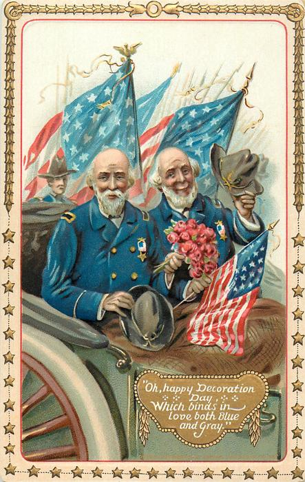 OH, HAPPY DECORATION DAY WHICH BINDS IN LOVE BOTH BLUE AND GRAY.  two Veterans ride in carriage