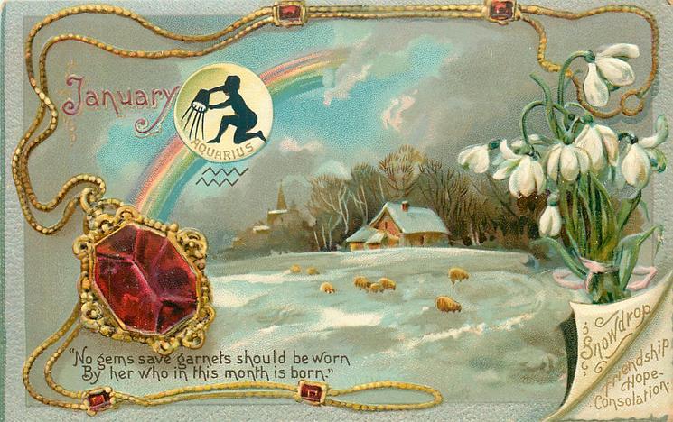 JANUARY SNOWDROP FRIENDSHIP HOPE CONSOLATION AQUARIUS  garnet & snowdrops