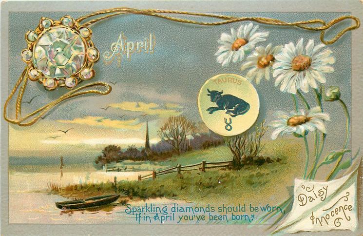 APRIL DAISY INNOCENCE TAURUS  diamond & daisies