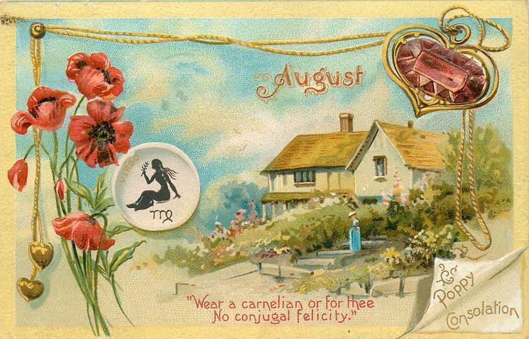 AUGUST POPPY CONSOLATION VIRGO  carnelian & poppies