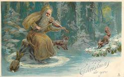 A HAPPY CHRISTMAS TO YOU  brown-coated Santa sits playing violin to fox & squirrel