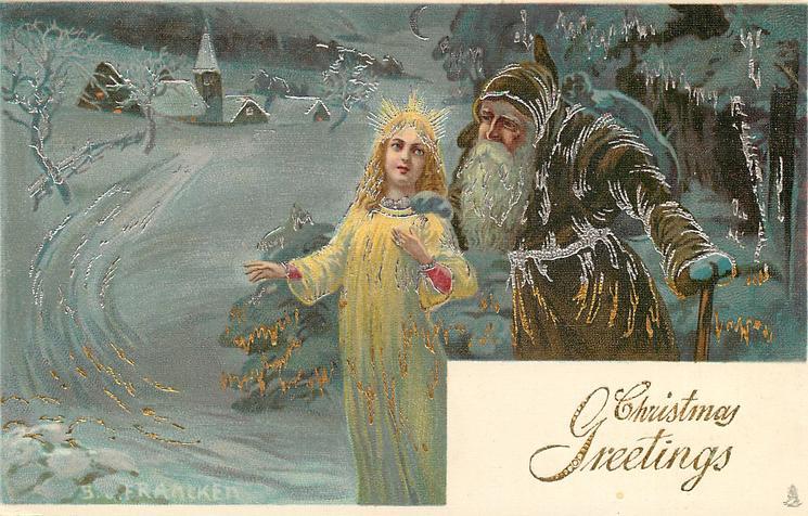 CHRISTMAS GREETINGS  brown-coated Santa leans over angel's left shoulder, distant church left
