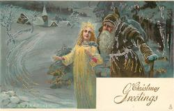 CHRISTMAS GREETINGS  brown-coated Santa leans over angel's left shoulder, distant church left