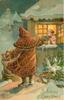 A HAPPY CHRISTMAS, burnt umber robed Santa gives toys to two children through window