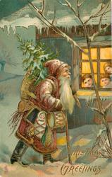 CHRISTMAS GREETINGS (2 styles)  red robed Santa with toys and tree walks right, three children in window