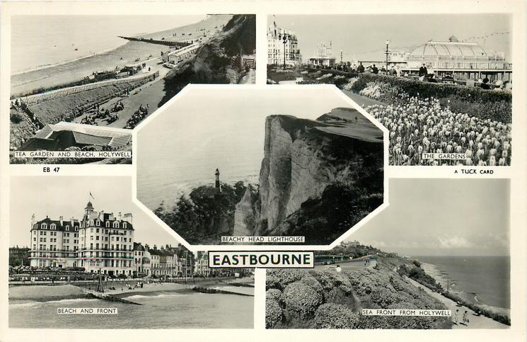 5 insets TEA GARDEN AND BEACH, HOLYWELL/THE GARDENS/BEACHY HEAD LIGHTHOUSE/BEACH AND FRONT/SEA FRONT FROM HOLYWELL