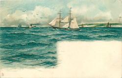two masted sailing ship, blue pennant centre, steamer left, other sailboats on horizon