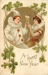 A HAPPY NEW YEAR or CHRISTMAS GREETINGS, Pierrot and Pierrette toast each other