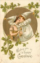 WISHING YOU A HAPPY CHRISTMAS, Pierrot and Pierrette kiss