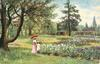 woman under umbrella with child standing near flowers, large crooked tree left