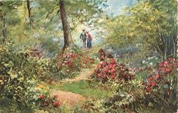 couple approaching walking past large tree
