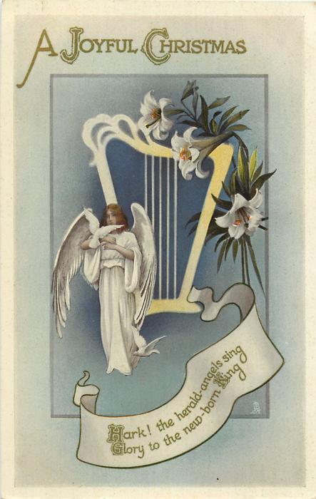 A JOYFUL CHRISTMAS  harp, angel, lilies