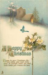 A HAPPY CHRISTMAS  rose, butterfly, snow, church