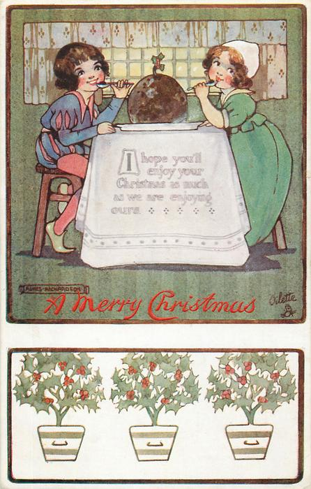 A MERRY CHRISTMAS  boy & girl sit with Xmas pudding on table between them