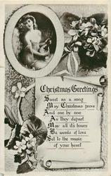 CHRISTMAS GREETINGS  verse, flowers and pretty girl