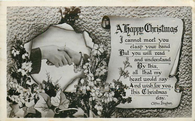 A HAPPY CHRISTMAS  verse, flowers and handshake