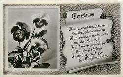 CHRISTMAS  on scroll, inset of pansies left