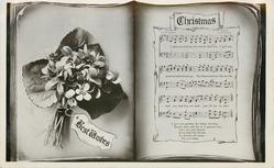 CHRISTMAS  BEST WISHES  on label, song & violets in 'book