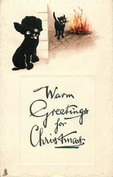 WARM GREETINGS FOR CHRISTMAS  black puppy, black cat
