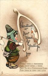 CHRISTMAS & NEW YEAR GREETINGS child dressed as hunter, exaggerated wishbone, ducks