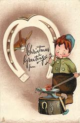 CHRISTMAS GREETINGS  boy as blacksmith startled by red-hot horseshoe on anvil, mule observes