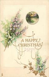 A HAPPY CHRISTMAS TO YOU  heather, gilt chains & tiny rural vigneete