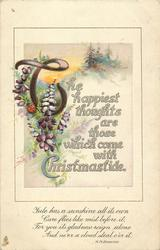 THE HAPPIEST THOUGHTS ARE THOSE WHICH COME WITH CHRISTMASTIDE  ladybird on purple heather