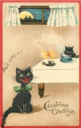 CHRISTMAS GREETINGS  cat steals milk, another observes