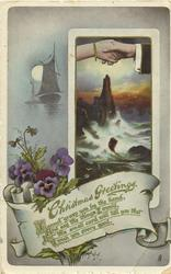 CHRISTMAS GREETINGS  pansies, hands clasped over seascape