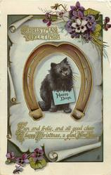 CHRISTMAS GREETINGS  black cat sitting in horseshoe with sign HAPPY DAYS, violets