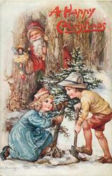 Santa watches two children dig up tree