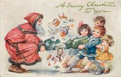 A MERRY CHRISTMAS TO YOU  Santa pulls cracker with four children