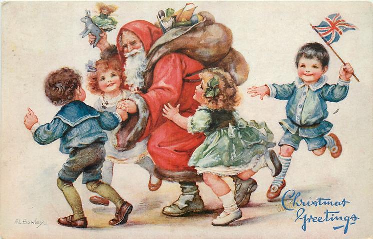 CHRISTMAS GREETINGS  Santa walking left escorted by children